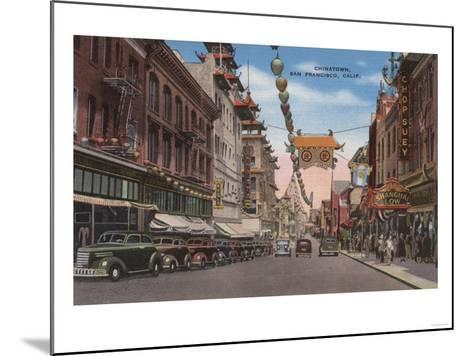 San Francisco, CA - View of Chinatown Main Street-Lantern Press-Mounted Art Print