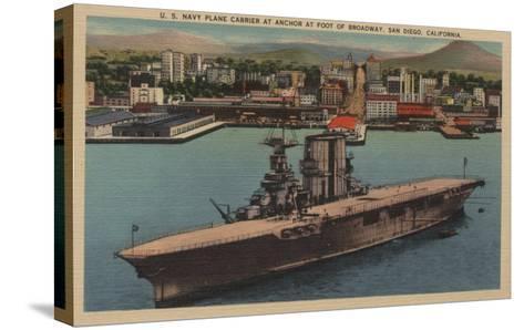 San Diego, CA - View U.S. Navy Aircraft Carrier-Lantern Press-Stretched Canvas Print