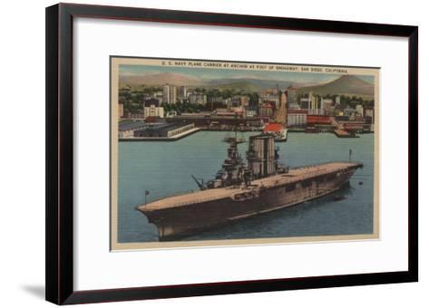 San Diego, CA - View U.S. Navy Aircraft Carrier-Lantern Press-Framed Art Print