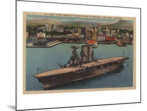 San Diego, CA - View U.S. Navy Aircraft Carrier-Lantern Press-Mounted Art Print