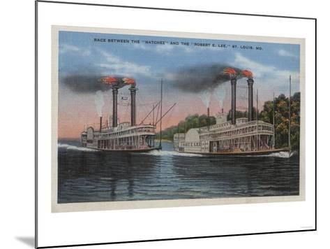 St. Louis, MO - View of Natchez & Robert E. Lee-Lantern Press-Mounted Art Print