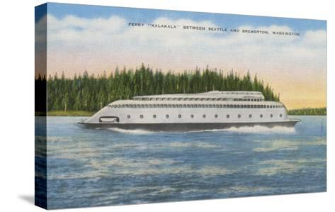 Seattle, WA - View of Kalakala Ferry on Puget Sound-Lantern Press-Stretched Canvas Print