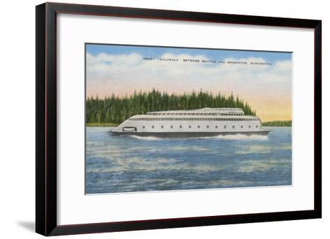 Seattle, WA - View of Kalakala Ferry on Puget Sound-Lantern Press-Framed Art Print