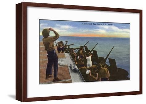 US Navy View - Anti-Aircraft Fire from U.S. Carrier-Lantern Press-Framed Art Print