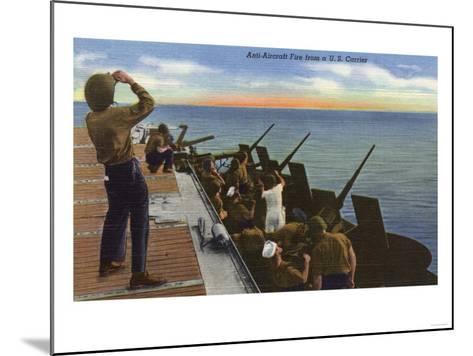 US Navy View - Anti-Aircraft Fire from U.S. Carrier-Lantern Press-Mounted Art Print