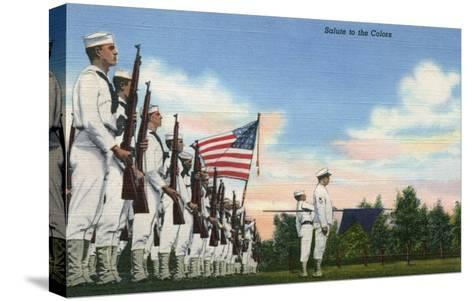US Navy View - Salute to the Colors Formation-Lantern Press-Stretched Canvas Print