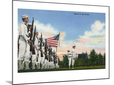 US Navy View - Salute to the Colors Formation-Lantern Press-Mounted Art Print