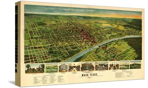 Waco, Texas - Panoramic Map-Lantern Press-Stretched Canvas Print