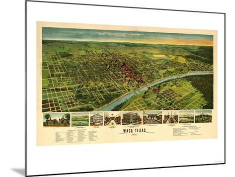 Waco, Texas - Panoramic Map-Lantern Press-Mounted Art Print