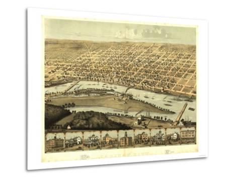 Saginaw, Michigan - Panoramic Map-Lantern Press-Metal Print