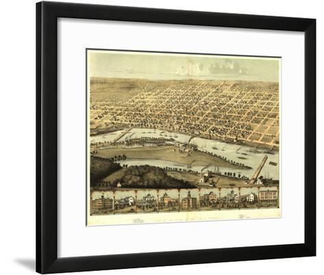 Saginaw, Michigan - Panoramic Map-Lantern Press-Framed Art Print