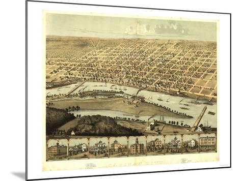 Saginaw, Michigan - Panoramic Map-Lantern Press-Mounted Art Print