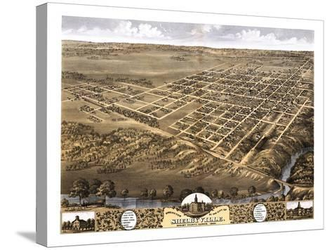 Shelbyville, Illinois - Panoramic Map-Lantern Press-Stretched Canvas Print