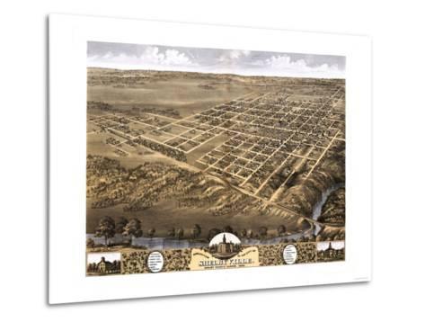 Shelbyville, Illinois - Panoramic Map-Lantern Press-Metal Print