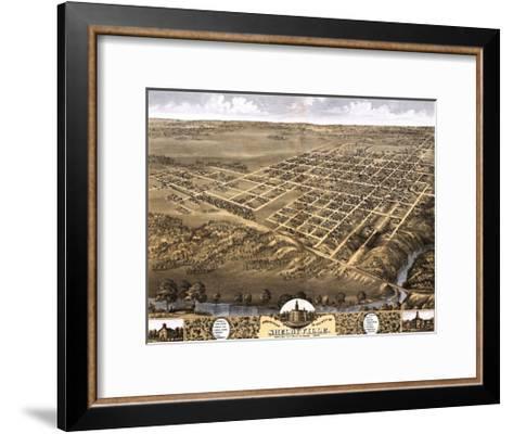 Shelbyville, Illinois - Panoramic Map-Lantern Press-Framed Art Print