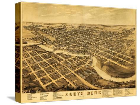 South Bend, Indiana - Panoramic Map-Lantern Press-Stretched Canvas Print