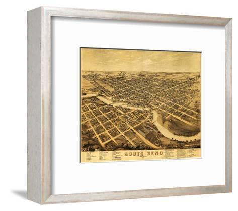 South Bend, Indiana - Panoramic Map-Lantern Press-Framed Art Print
