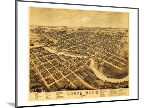 South Bend, Indiana - Panoramic Map-Lantern Press-Mounted Art Print