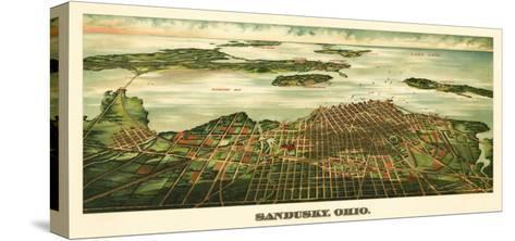 Sandusky, Ohio - Panoramic Map-Lantern Press-Stretched Canvas Print