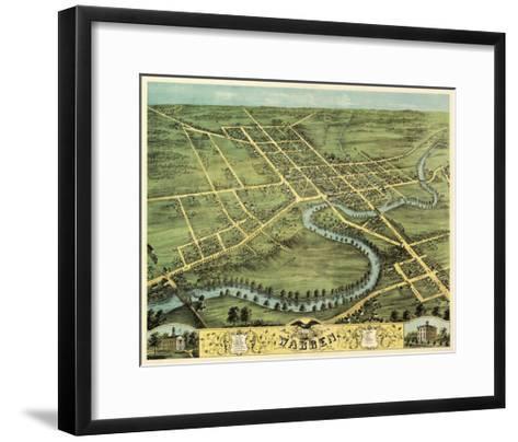 Warren, Ohio - Panoramic Map-Lantern Press-Framed Art Print