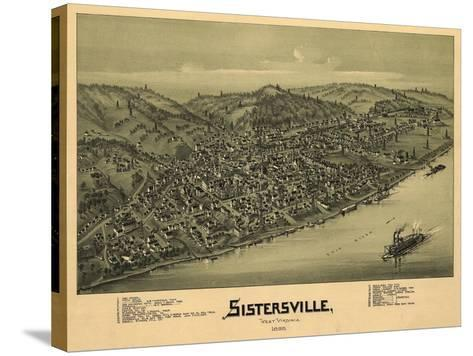 Sistersville, West Virginia - Panoramic Map-Lantern Press-Stretched Canvas Print