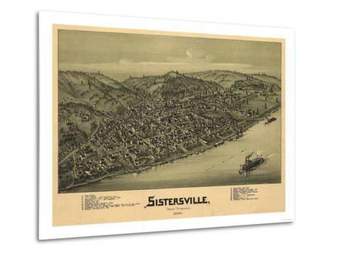Sistersville, West Virginia - Panoramic Map-Lantern Press-Metal Print