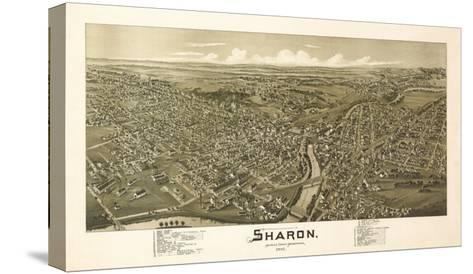 Sharon, Pennsylvania - Panoramic Map-Lantern Press-Stretched Canvas Print