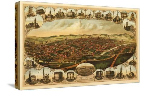 York, Pennsylvania - Panoramic Map-Lantern Press-Stretched Canvas Print