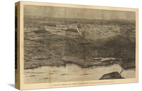 Saratoga Springs, New York - Panoramic Map-Lantern Press-Stretched Canvas Print