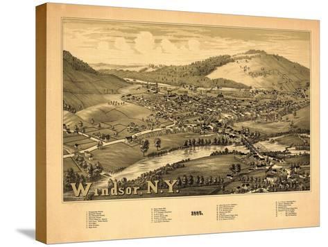 Windsor, New York - Panoramic Map-Lantern Press-Stretched Canvas Print