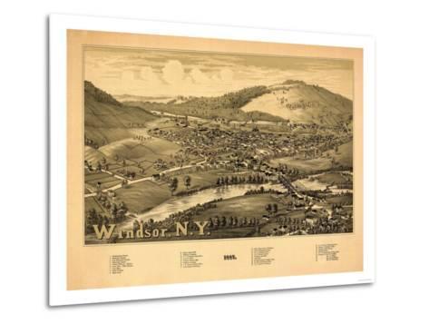 Windsor, New York - Panoramic Map-Lantern Press-Metal Print