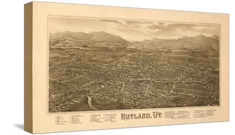 Rutland, Vermont - Panoramic Map-Lantern Press-Stretched Canvas Print