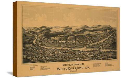 White River Junction, Vermont - Panoramic Map-Lantern Press-Stretched Canvas Print