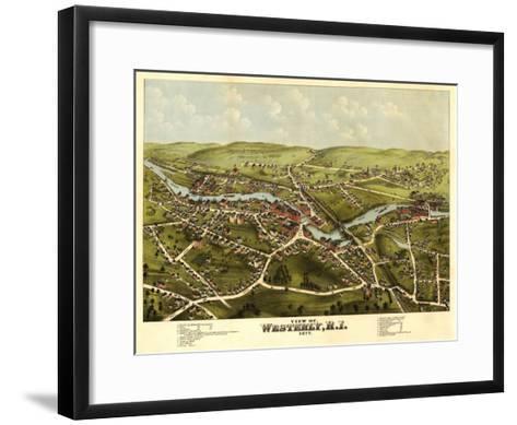 Westerly, Rhode Island - Panoramic Map-Lantern Press-Framed Art Print