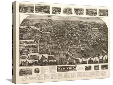 Westerly, Rhode Island - Panoramic Map-Lantern Press-Stretched Canvas Print