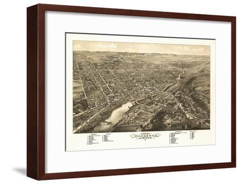 Waukesha, Wisconsin - Panoramic Map-Lantern Press-Framed Art Print