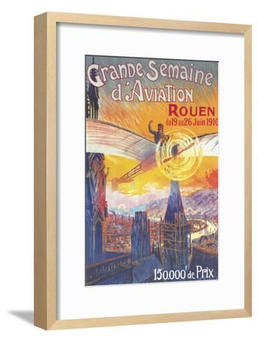 Rouen, France - Pilot and Plane over Cathedral Shocked Statues Poster-Lantern Press-Framed Art Print