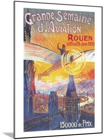 Rouen, France - Pilot and Plane over Cathedral Shocked Statues Poster-Lantern Press-Mounted Art Print