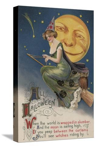 Halloween Greeting - Witch in Flight-Lantern Press-Stretched Canvas Print