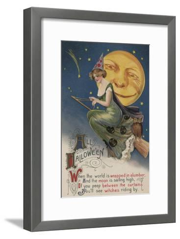 Halloween Greeting - Witch in Flight-Lantern Press-Framed Art Print