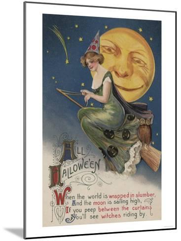 Halloween Greeting - Witch in Flight-Lantern Press-Mounted Art Print