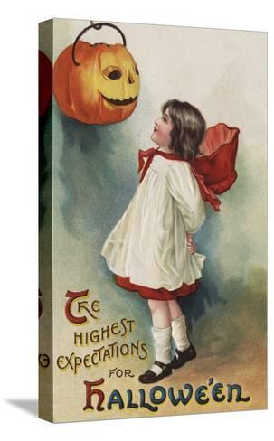 Halloween Greeting - Girl in Red and White-Lantern Press-Stretched Canvas Print