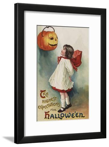 Halloween Greeting - Girl in Red and White-Lantern Press-Framed Art Print