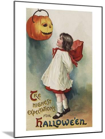 Halloween Greeting - Girl in Red and White-Lantern Press-Mounted Art Print