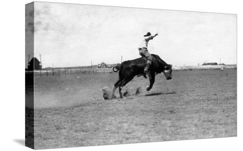 Cowboy Riding a Bucking Bull-Lantern Press-Stretched Canvas Print
