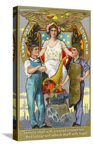 Labor Day Souvenir Laborers with Lady Justice-Lantern Press-Stretched Canvas Print