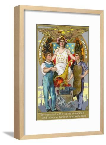 Labor Day Souvenir Laborers with Lady Justice-Lantern Press-Framed Art Print