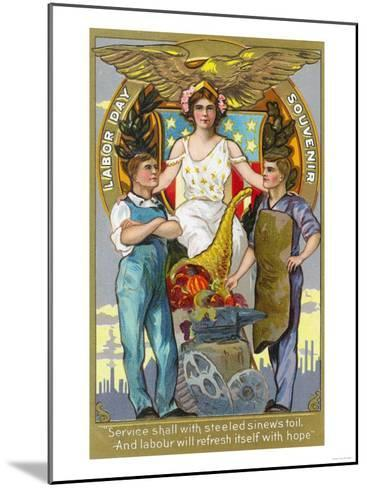 Labor Day Souvenir Laborers with Lady Justice-Lantern Press-Mounted Art Print