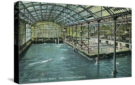 Interior View of the Indoor Sutro Baths - San Francisco, CA-Lantern Press-Stretched Canvas Print