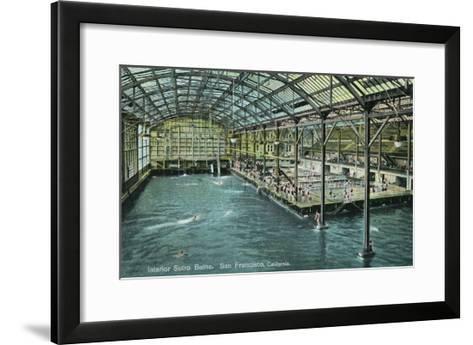 Interior View of the Indoor Sutro Baths - San Francisco, CA-Lantern Press-Framed Art Print